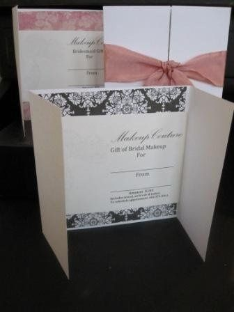 Personalized Gift Certificates for the Bride or Bridesmaid.