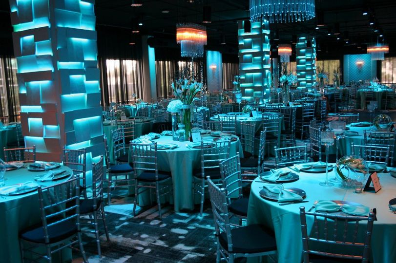 Blue reception lighting.