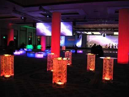 lighted multi color cocktail tables rentals