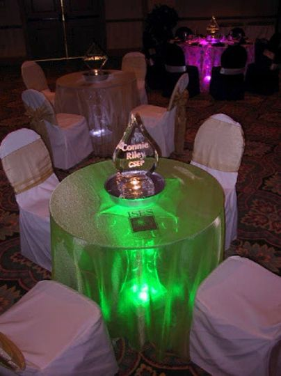 lighted green color cocktail tables for rent