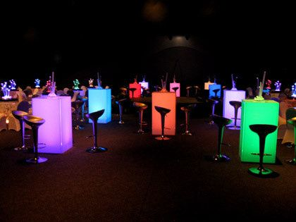 lighted multi color cocktail tables for rent