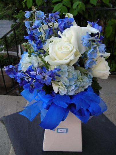 true blue, hydrangea, eskimo rose, blue delphinium