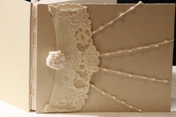Champagne Ivory Lace Wedding Guest Book, Embroidered Netting Lace, Personalized, Handmade more info...
