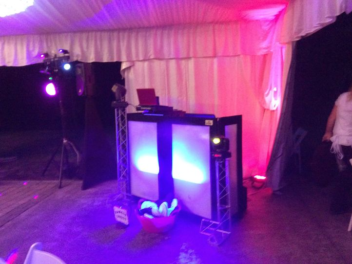 DA Productions DJ & Lighting Services DJ area set/up that is used at all of our events. Giving a...