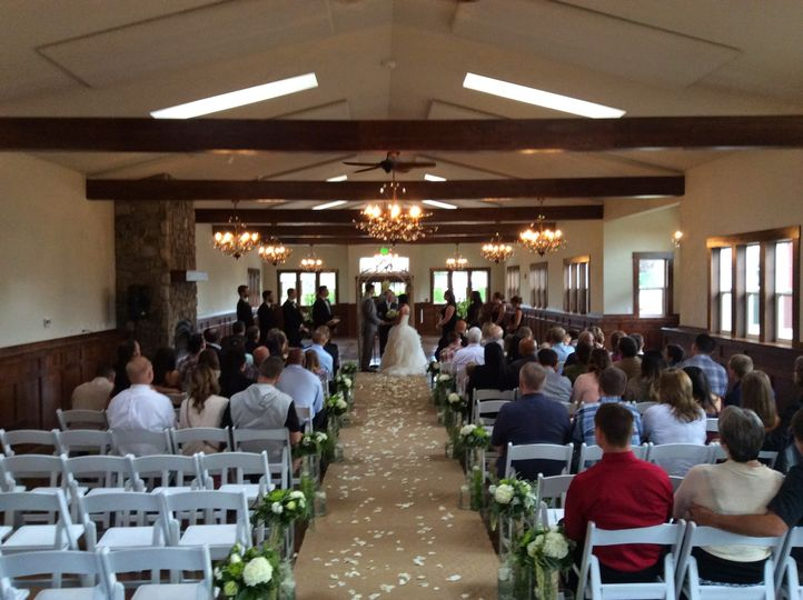 Getting ready for ceremony at Swan Trails Farm House