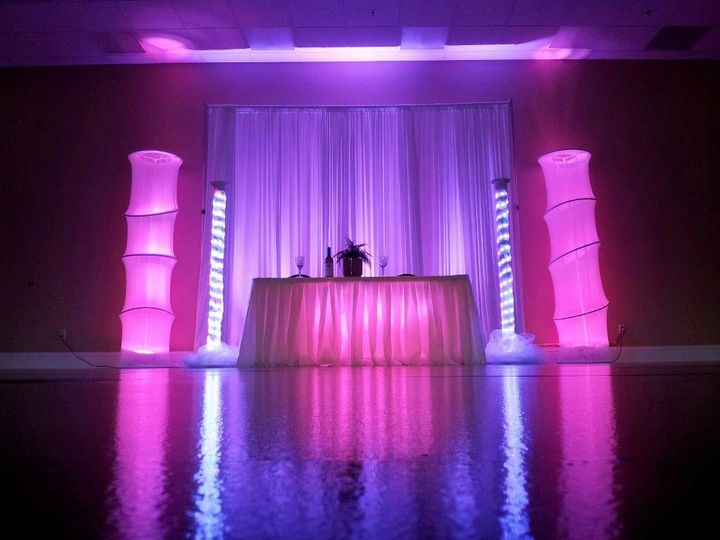 Led 8 ft pillars with Pipe and drape for your head table