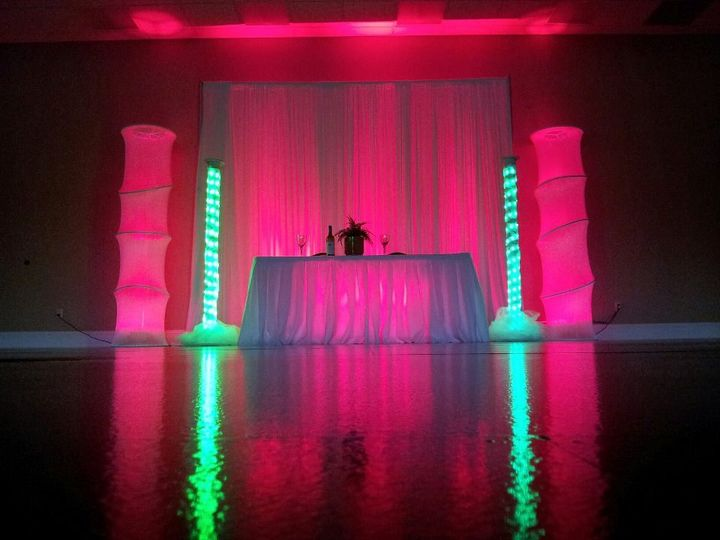 led towers with lit up pipe and drape