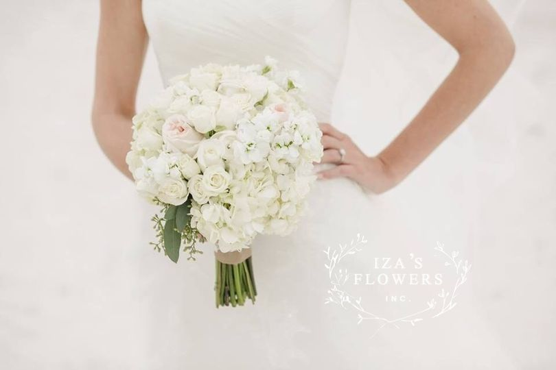 Hydrangea and Rose Bouquet with touches of eucalyptus by Iza's Flowers, Inc.