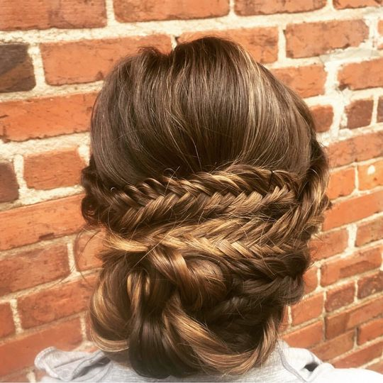 Braided fish tail updo