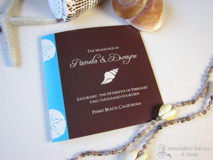 Custom Pismo Beach wedding program with sand dollars and a seashell in chocolate brown and Malibu...