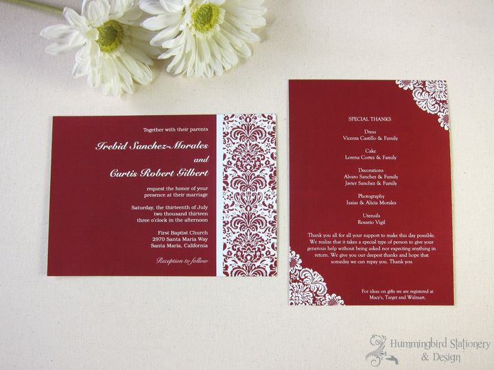 Double-sided damask wedding invitations in Sangria on white card stock.
