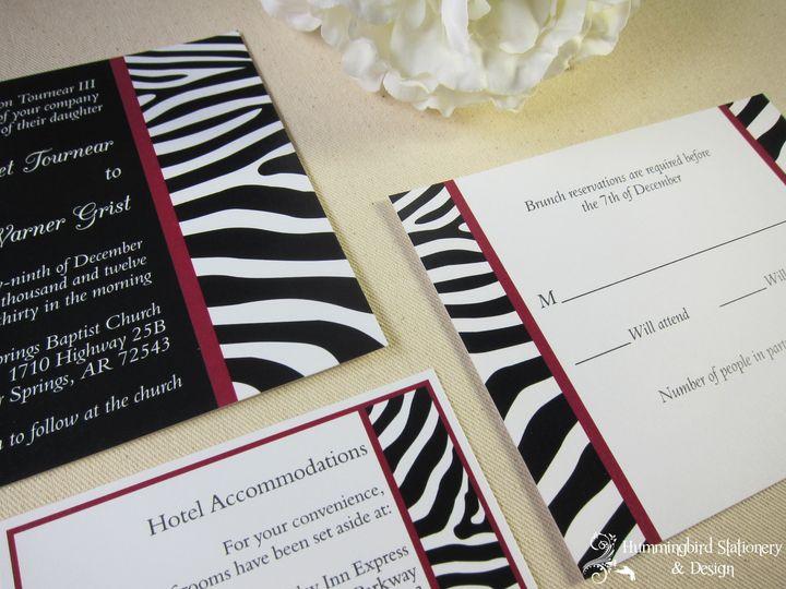 "Custom ""Full Color"" Black, White and Cranberry Zebra Invitation, Response Card and Hotel Insert..."