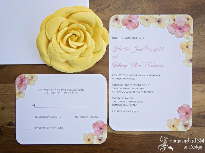 Tmx 1417292029086 Wmhummingbird Stationery 050 Lompoc wedding invitation