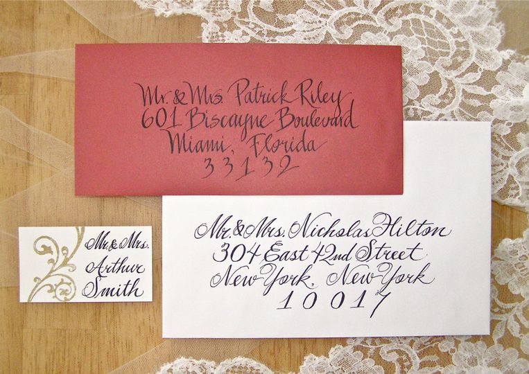 Missy's Painted Reef calligraphy samples for place cards, wedding or party invitations, holiday...