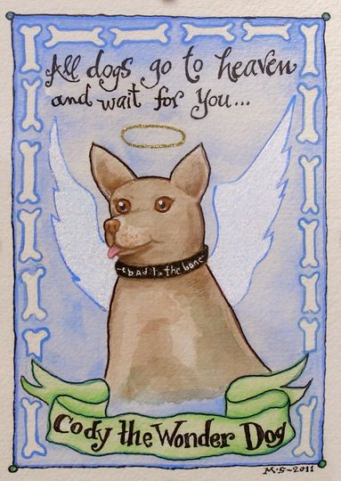 This custom painting from Missy's Painted Reef is a memorial to Cody and a reminder to all dog...