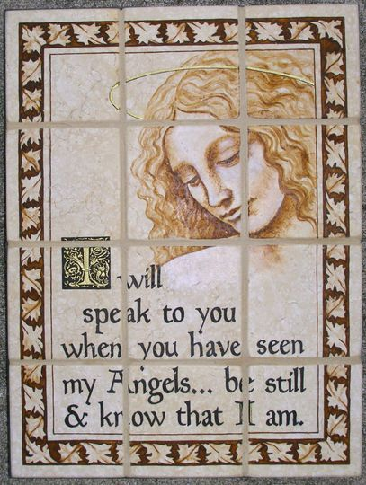 "This 12"" x 16"" angel image from Missy's Painted Reef was done on tumbled stone.  It showcases a..."