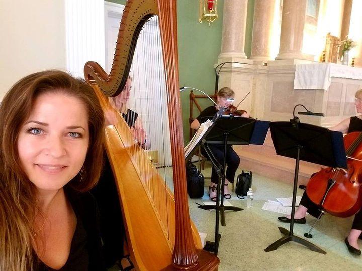 Vocalist, harp, violin, cello