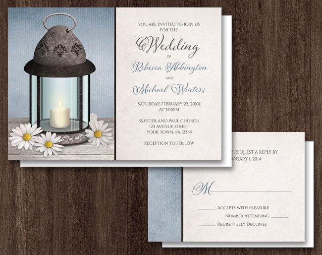 icon lantern daisy blue rustic wedding invitatio