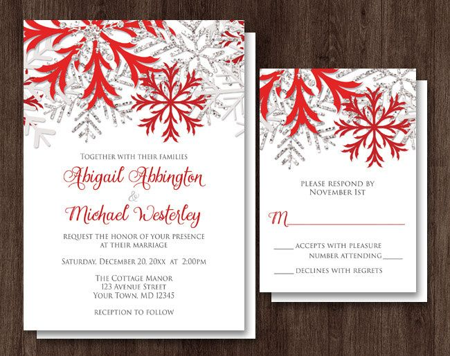 icon snowflake red winter wedding invitations an
