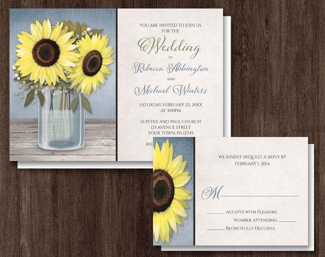icon sunflower blue mason jar rustic wedding inv