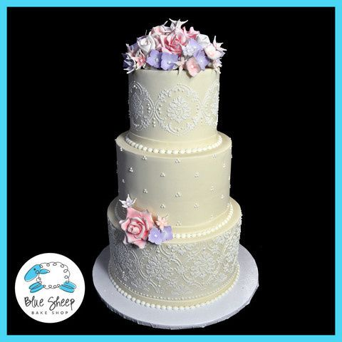 Tmx 1378088357946 Weddingcakepinkroseslarge Dunellen wedding cake
