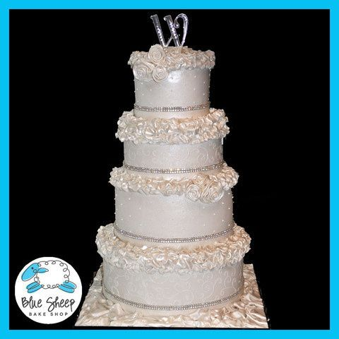 Tmx 1378088573945 Roseruffleweddingcakelarge Dunellen wedding cake