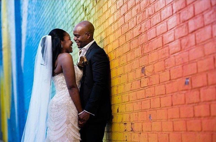 By a rainbow wall