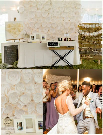 all white paper flower backdrop 10