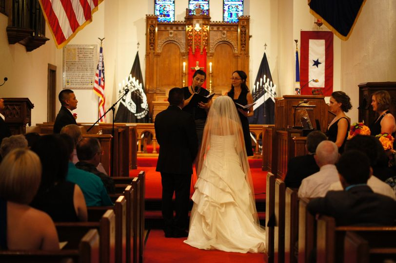 Rev. Natasha Ballestena & Rev. Marion Fyfe - bilingual wedding at Fort Snelling Historic Chapel