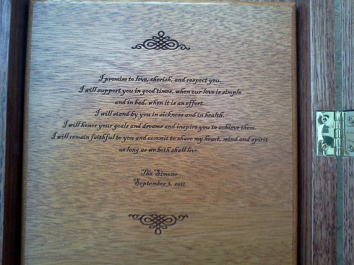 Love Letter Ceremony inscription by Rev. Susan Lee-Wright