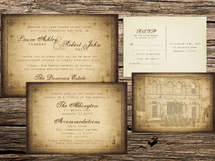 Tmx 1414170782864 Qbcheck Designs Vinatge Invite Lrg Waukesha wedding invitation