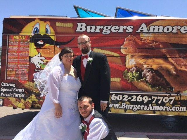 bride groom best man burgers