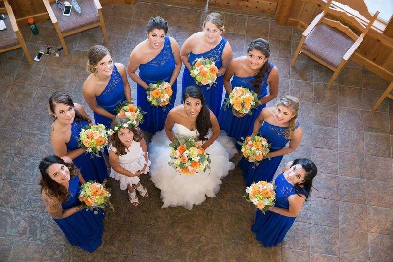Bride and her bridal attendants