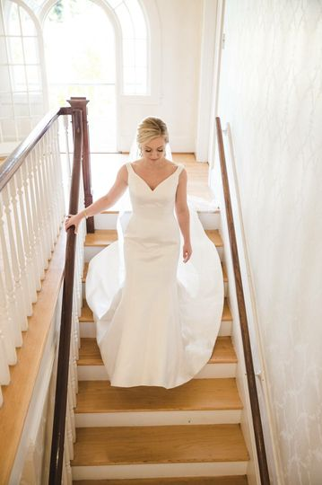 Bride walking down the stair