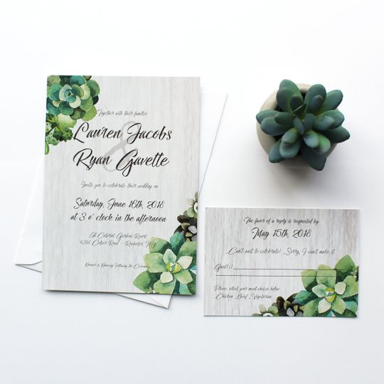 Succulent themed invitation