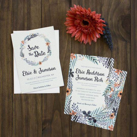 Floral themed invitation