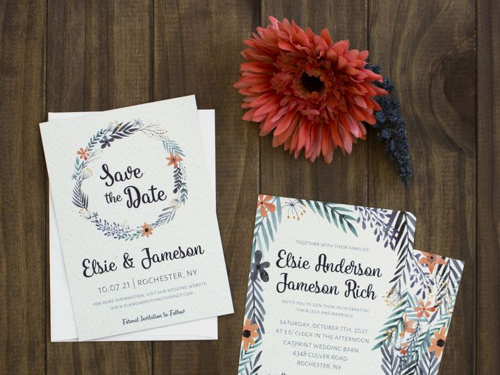 Tmx 1504032410575 Floralsuitewedding Rochester, NY wedding invitation