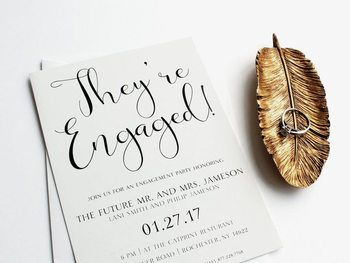 Tmx 1504032437072 Engagementgoldfeather Rochester, NY wedding invitation