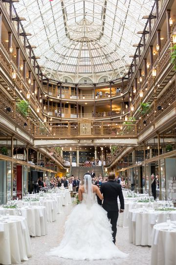 Stephanie makes her way down the long aisle of hte Cleveland Arcade.