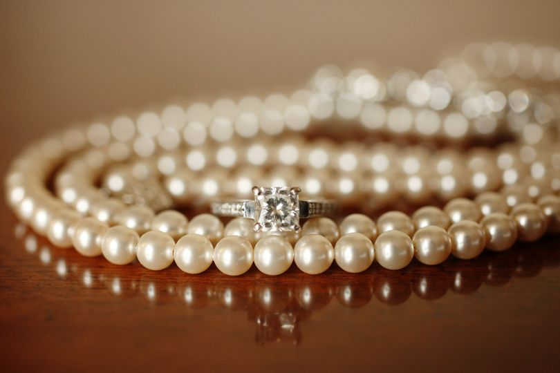 Wedding ring on a pearl necklace