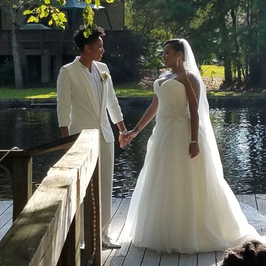 Kori & Erin had their ceremony across the lake in a gorgeous setting at Palmettos on the Bayou.