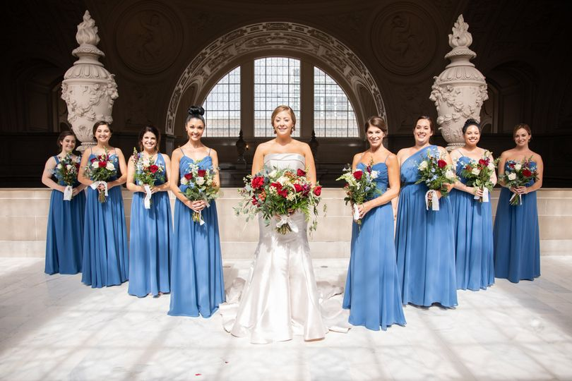 Bride and her bridesmaids at the venue