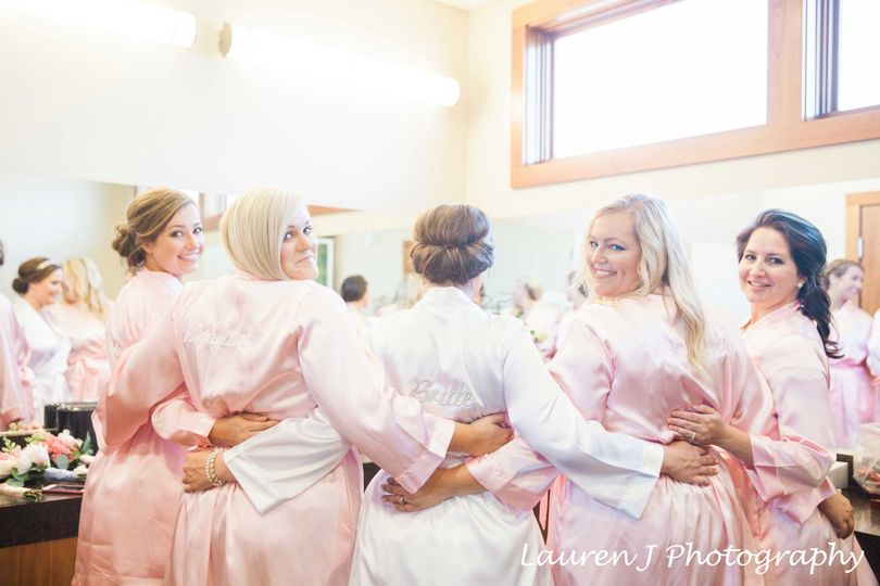 Bride and bridesmaids in the dressing area