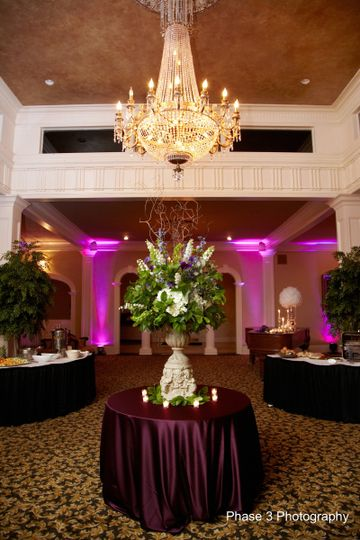 Uplighting in Nottoway Plantation Ballroom