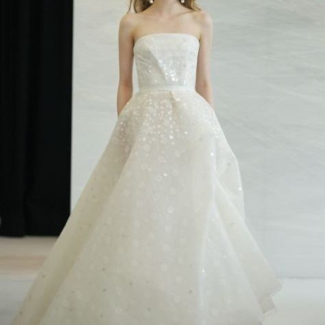 Straight neckline wedding dress