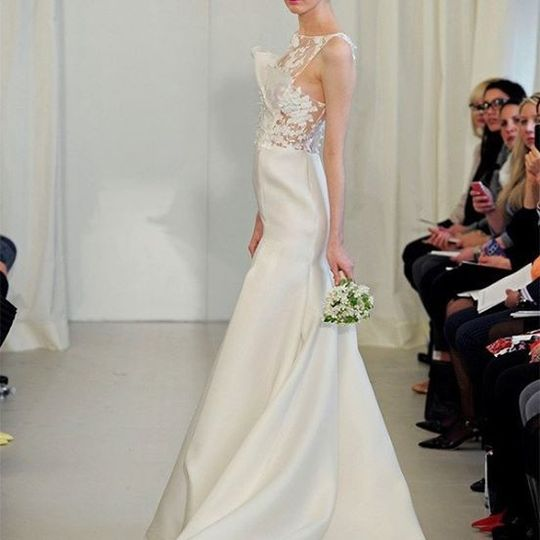 Wedding dress with lace on top