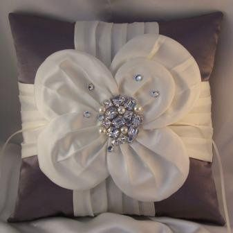 Gorgeous charcoal satin shantung ring bearer pillow with large ivory satin flower accented with bold...