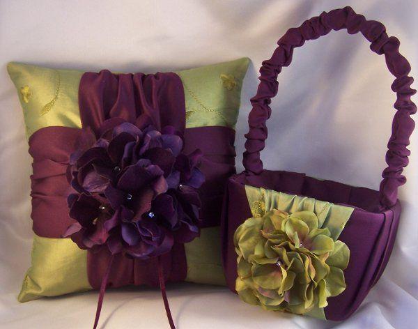 Silk hydrangea ring bearer pillow and matching flower girl basket.