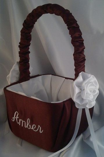 Beautiful custom satin flower girl basket monogrammed with the flower girl's name and accented with...