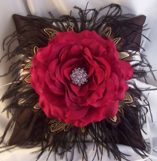 Gorgeous ring bearer pillow in chocolate satin with black ostrich feathers and pheasant feathers...